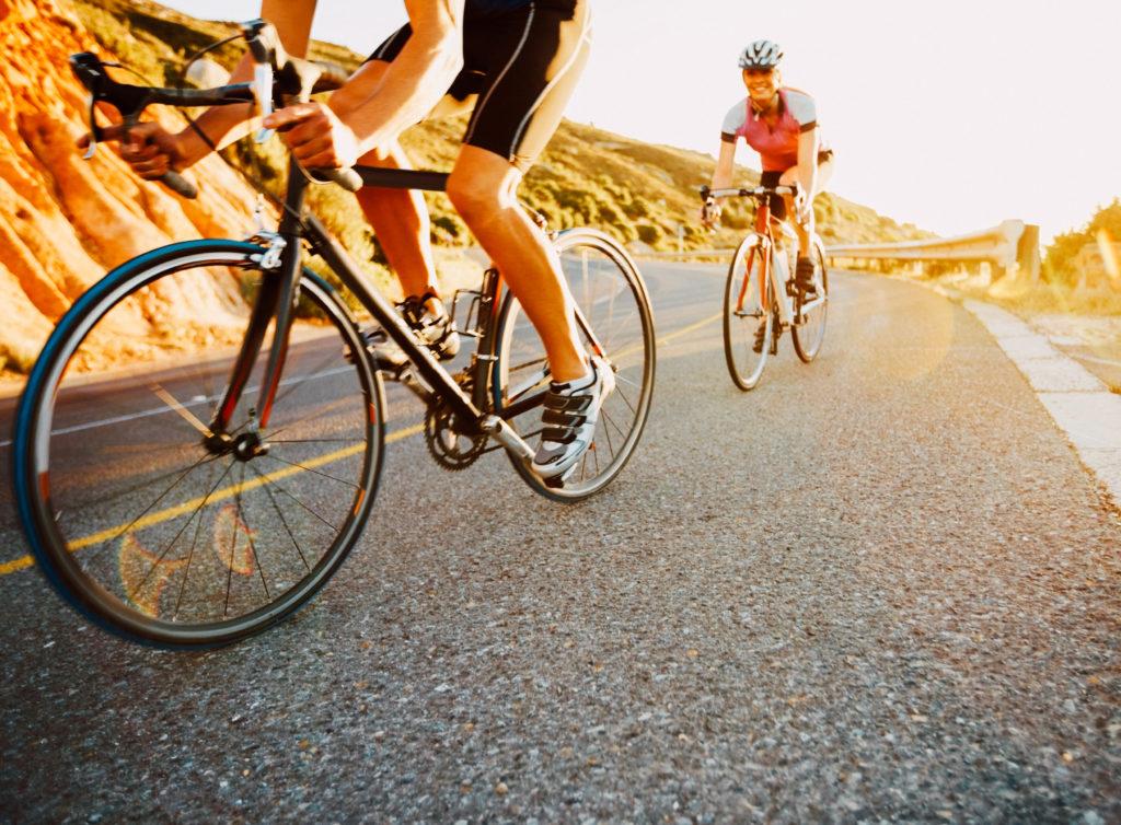 Bicyclists on San Bernardino road